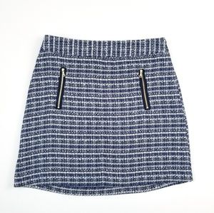 NWT LOFT Navy Blue Mini Tweed Skirt Size 6